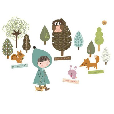 sticker enfant repositionnable forêt - Chocovenyl In the Woodland de Jillian Phillips
