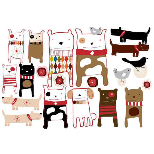 sticker enfant repositionnable chiens - Chocovenyl Dogs de Carolyn Gavin