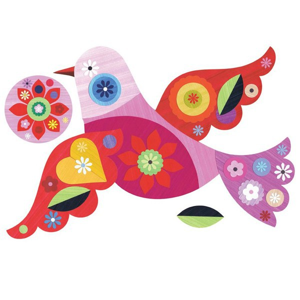 sticker enfant repositionnable - Chocovenyl Bird Miniz de Ellen Giggenbach