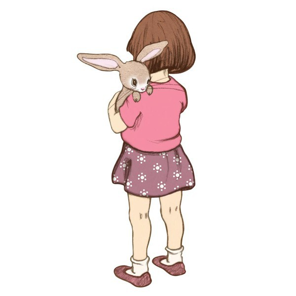 sticker enfant repositionnable - Chocovenyl Belle hugs Boo le lapin