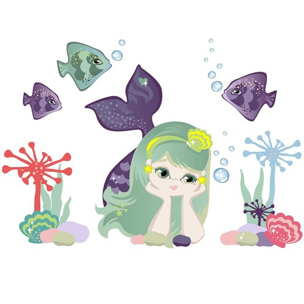 grand sticker fille sirène repositionnable - Chocovenyl Mermaid de Chocovenyl